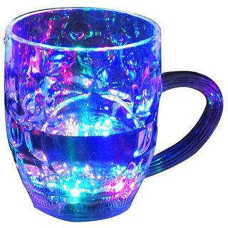 Stylewell Fiber Glass Beer Mug/Cup With Magic Inductive Rainbow Color 7 Led Flashing/Changing Liquid Activated Lighting