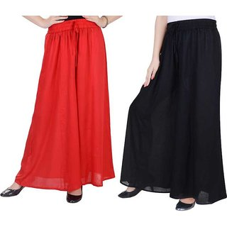 Relaxed Women red and black  palazzo pant or Trousers