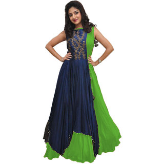 Embroidered Poly Silk Anarkali Gown  (Blue, Green)