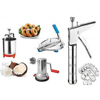 stainless steel kitchen press and puri press with medu wada maker and coconut scraper
