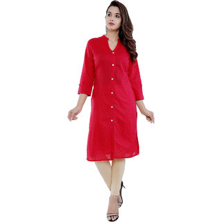 Purvahi Red color duby duby print Front Slit Kurti  (KC2067 Red )