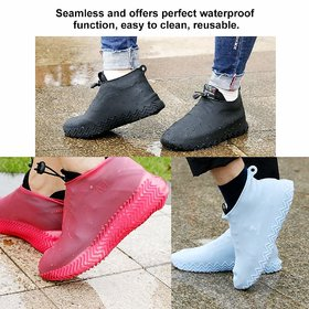 Waterproof Reusable Foldable Overshoes with Excellent Elasticity Non-Slip Silicone Rain Boot Shoe Cover 1 pair
