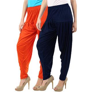 Women's Cotton Viscose Lycra Dhoti Patiyala Salwar Harem Bottoms Pants Orange Navy Combo Pack of 2