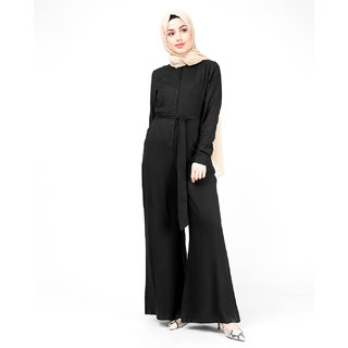 SILK ROUTE London Black Front Button Opening Jumpsuit For Women Height of 58 inches