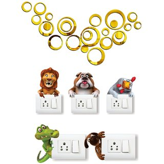 EJA Art Ring golden 24 Acrylic  Wall Sticker With Free Animals Switch Board Sticker