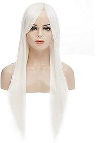 Kaku Fancy Dresses Girl Straight Styler White Color Hair Wig -White, Free Size, for Girls