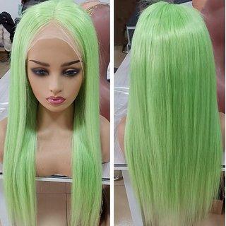 Kaku Fancy Dresses Girl Straight Styler Parrot Green Color Hair Wig -Parrot Green, Free Size, for Girls