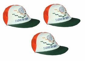 Kaku Fancy Dresses Tri Color Cap for Kids Independence Day/Republic Day (3 Pcs Set) -Multicolor, Free Size, for Unisex