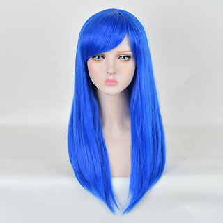 Kaku Fancy Dresses Ladies Girls Long Straight Hair Wig for Styling / Party Color -Blue, Free Size, for Girls