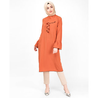 SILK ROUTE London Arabesque Orange Ruffled Midi Dress For Women Height of 5'4 inches