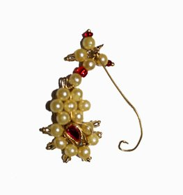 Kaku Fancy Dresses Marathi Nose Pin/Maharashtrian Nath Jewellery/Traditional Jewellery -Golden, Free Size for Girls