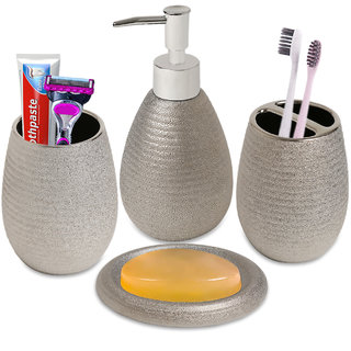 Smile Mom Bathroom Accessories Set (4 Piece) with Toothbrush Holder, Liquid Bottle Dispenser, Soap Dish and Tumbler