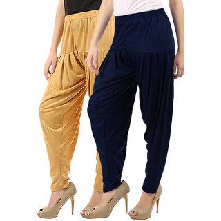 Women's Cotton Viscose Lycra Dhoti Patiyala Salwar Harem Bottoms Pants Dark Skin Navy Combo Pack of 2