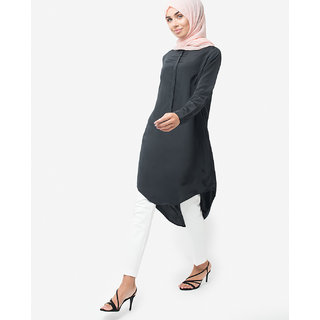 SILK ROUTE London Black Dipped Hem Shirt Midi For Women Height of 54 inches