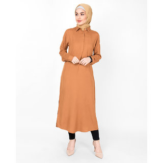 SILK ROUTE London Sudan Brown Shirt Midi For Women Height of 58 inches