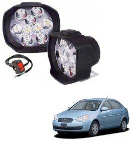 Auto Addict 9 LED 16W Anti-Fog Spot Light Auxiliary Headlight with Switch Set of 2 Pcs For Hyundai Old Verna