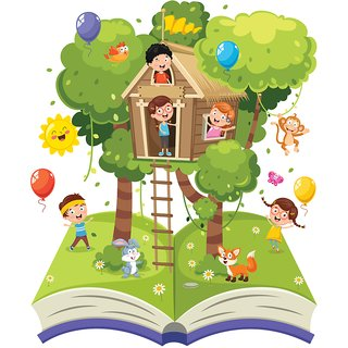tree house of children  Alphabets and numbers wall sticker paper poster |Sticker Paper Poster, 12x18 Inch