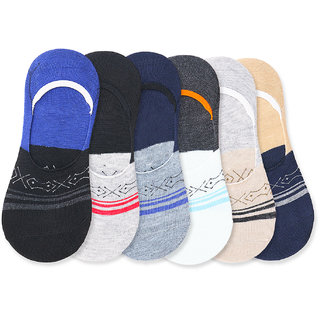 Dzvr Mens Cotton Loafer Socks Free Size Multicolored Pack of 6