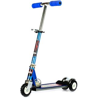 Heavy Metallic Big Size 3 Wheel Height Adjustable Kids Scooter With Tractor Wheels Scooty -Silver/Blue/Green