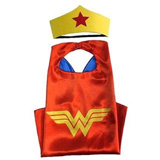 Kaku Fancy Dresses Superhero Wonder Girl Robe for Kids/California Fancy Dress for Kids-Red, Free Size For Girls