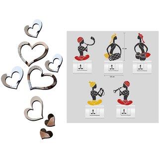 EJA Art Love heart 2 set silver Acrylic  Wall Sticker With Free Folk Band Switch Board Sticker