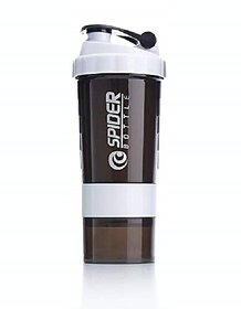 Spider Gym Sipper Protein Shaker BPA free Plastic Water Bottle 528 ml Sipper  (Pack of 1, White)