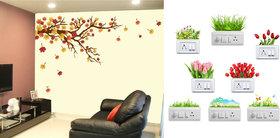 EJA Art autaum leaf Wall Sticker With Free Flowers Switch Board Sticker