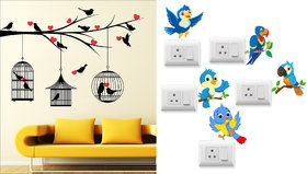EJA Art Love Birds With Hearts Wall Sticker With Free Twitter bird Switch Board Sticker