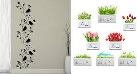 EJA Art Bird vine Wall Sticker With Free Flowers Switch Board Sticker