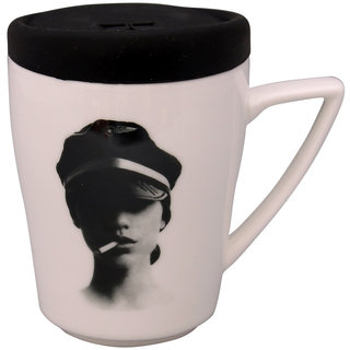 Cofee Mug with detachable Silicon lid Grey