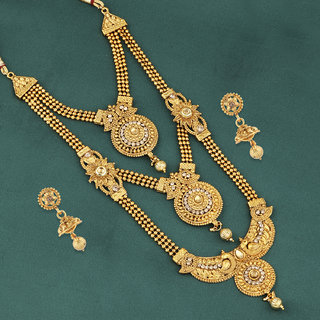 Silver Shine Traditional Gold Plated Ethnic Elegant Self Textured Golden Kundan Stone Studded Triple Layer Three Chain Type Designer Long Bridal Wedding Jevellry Set For Girls and Women