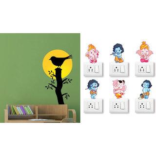 EJA Art Bird on a sunrise branch Wall Sticker With Free Ganesh and Friends Switch Board Sticker
