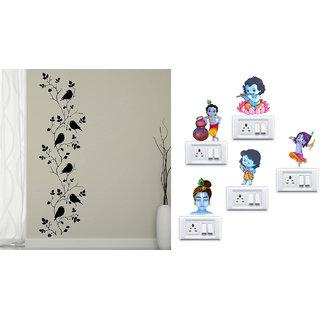 EJA Art Bird vine Wall Sticker With Free Krishna Switch Board Sticker