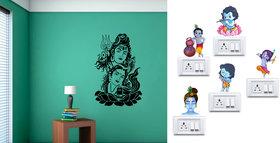 Eja Art Shiv Parwati Wall Sticker With Free Krishna Multicolor PVC Switch Board Sticker