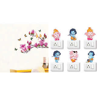 EJA Art magnolia flower and butterflies Wall Sticker With Free Ganesh and Friends Switch Board Sticker