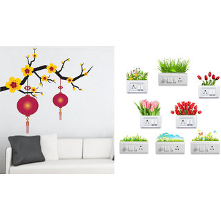 EJA Art Blooming Flowers With Lantern Wall Sticker With Free Flowers Switch Board Sticker