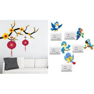 EJA Art Blooming Flowers With Lantern Wall Sticker With Free Twitter bird Switch Board Sticker