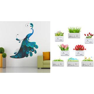 EJA Art Modern Peacock Wall Sticker With Free Flowers Switch Board Sticker