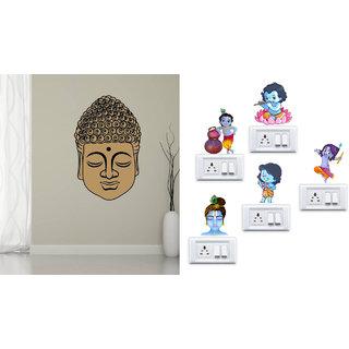 EJA Art Buddha Face Wall Sticker With Free Krishna Switch Board Sticker