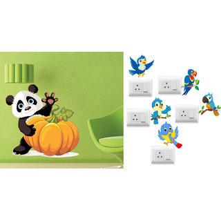 EJA Art Pumpkin Panda Wall Sticker With Free Twitter bird Switch Board Sticker