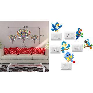 EJA Art colorful Elephant Wall Sticker With Free Twitter bird Switch Board Sticker