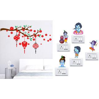 EJA Art Red flower with lantern Wall Sticker With Free Krishna Switch Board Sticker