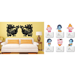 EJA Art Double Peacock Wall Sticker With Free Ganesh and Friends Switch Board Sticker