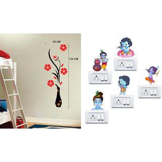 EJA Art Flower Vase Red Wall Sticker With Free Krishna Switch Board Sticker
