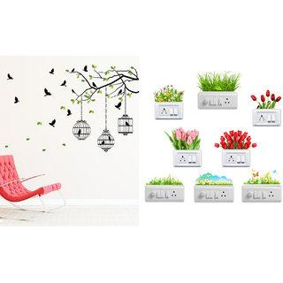 EJA Art flying birds with case Wall Sticker With Free Flowers Switch Board Sticker