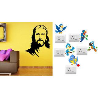 EJA Art Jesus Christ Wall Sticker With Free Twitter bird Switch Board Sticker