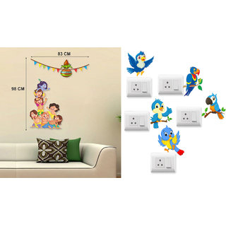 EJA Art KRISHNA Dahi Handi Wall Sticker With Free Twitter bird Switch Board Sticker