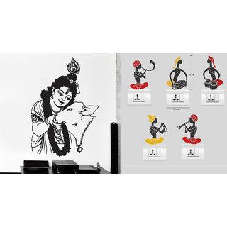 EJA Art krishna with cow Wall Sticker With Free Folk Band Switch Board Sticker