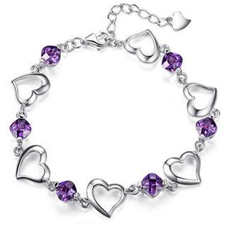 Sukkhi Eye-catchy Crystal Rhodium Plated Bracelet for Women