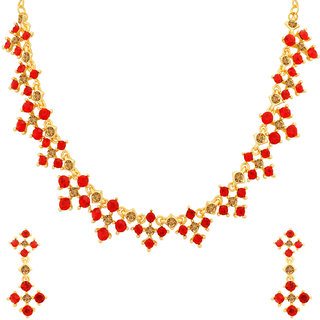Sukkhi Glistening LCT and Red Stone Gold Plated Necklace Set for Women